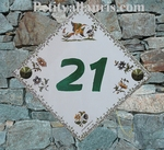 HOME NUMBER PLAQUE OLD MOUSTIERS TRADITION GREEN TEXT DIAGO