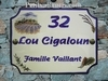 PLAQUE RECTANGLE DE STYLE DECOR CHAMPS DE LAVANDE TEXTE BLEU
