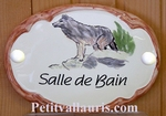 OVAL DOOR PLAQUE WITH WOLF PANTING BATHROOM TEXT
