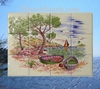 FRESQUE MURALE FAIENCE DECOR PAYSAGE CALANQUES 40 X 30