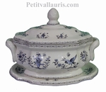 OCTAGONAL SOUP TUREEN WITH DISH BLUE OLD MOUSTIER DECOR