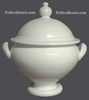 SOUPIERE FAIENCE RONDE EMAILLEE UNIE BLANCHE