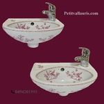 WASH HAND NADINE MODEL 23 x 35 PINK OLD MOUSTIERS DECORATION