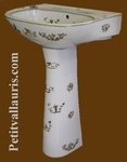 WASHBASIN WITH COLUMN OLD MOUSTIERS TRADITION DECORATION