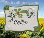 PARCHMENT DOOR PLAQUE GREEN FLOWERS CELLIER INSCRIPTION