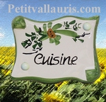 PARCHMENT DOOR PLAQUE GREEN KITCHEN FLOWERS INSCRIPTION
