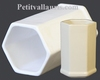 TUBE-POT MODELE HEXAGONAL EMAILLE UNI BLANC