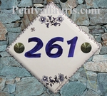 HOUSE NUMBER DECORATION TRADITION BLUE OLD MOUSTIERS DIAGO