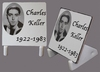 FUNERARY PLAQUE TO PUT WITH CUSTOMIZED TEXT AND PHOTO B&W
