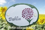 CERAMIC OVAL DOOR PLAQUE WITH DAHLIA FLOWER PANTING