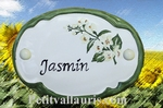 CERAMIC OVAL DOOR PLAQUE WITH JASMINE FLOWER PANTING