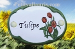 CERAMIC OVAL DOOR PLAQUE WITH TULIP FLOWER PANTING