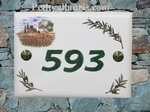 CERAMIC HOUSE PLAQUE COTTAGE AND OLIVE BRANCH DECOR