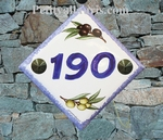 NUMBER ADRESS PLAQUE-TILE OLIVE DECOR BLUE TEXT AND BORDER