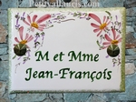 CERAMIC HOUSE PLAQUE PINK FLOWERS DECORATION HORIZONTAL TEXT