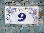 HOUSE PLAQUE RECTANGLE MODEL BLUE FLOWERS PAINT
