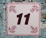 HOME NUMBER PLAQUE PINK OLD MOUSTIERS TRADITION