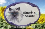 CERAMIC OVAL DOOR PLAQUE WITH CAT (4)  DECOR BLUE BORDER
