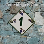 CERAMIC HOME NUMBER PLAQUE VINE GRAPP DECOR& CUSTOMIZED TEXT
