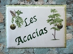 CERAMIC ENAMELLED HOUSE PLAQUE ACACIAS TREE PICTURE