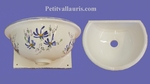 FAIENCE WALL BASIN HAND WASHING BLUE FLOWERS COLOR SIZE 2