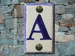 HOME ADDRESS PLATE WITH CUSTOMIZED BLUE LETTER