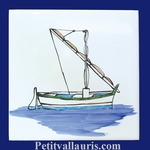 FISH BOAT WITH MAT DECOR ON TILE 15 X 15 CM