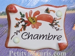 PARCHMENT DOOR PLAQUE RED FLOWERS BEDROOM INSCRIPTION