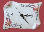 FAIENCE WALL CLOCK PARCHMENT LITTLE MODEL PINK FLOWERS DECOR