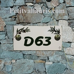 HOUSE PLAQUE RECTANGLE MODEL OLIVES PAINT GREEN NUMBER