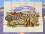 FRESQUE MURALE FAIENCE PROVENCALE DECOR BERGER