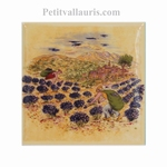DECOR ON TILE PROVENCE LAVANDER GATHERING YELLOW BACKGROUND