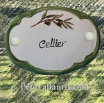 PLAQUE OVALE DE PORTE DECOR BRIN OLIVIER INSCRIPTION CELLIER