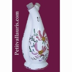 FAIENCE OIL AND VINEGAR BOTTLE PINK FLOWER DECORATION