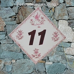 HOME NUMBER PLAQUE PINK OLD MOUSTIERS TRADITION DIAGONAL