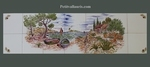 FRESQUE FAIENCE DECOR PAYSAGE CALANQUES ET CABANON 105 X 30