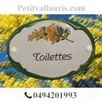 PLAQUE OVALE DE PORTE DECOR MIMOSAS INSCRIPTION TOILETTES BV