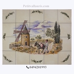 FRESQUE FAIENCE DECOR MOULIN ET MEUNIER SUR CARREAUX DE 10