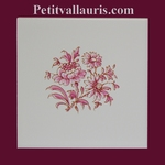 PINK FLOWER DECORATING ON WALL TILES