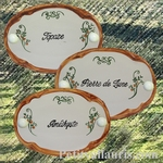 CERAMIC OVAL DOOR PLAQUE WITH ARABESQUE DECOR AND TAN BORDER
