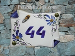 HOUSE PLAQUE SMALL MODEL PARCHMENT WITH CICADA BLUE FLOWERS