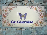 CERAMIC HOUSE PLAQUE RECTANGLE MODEL BUTTERFLY DECORATION