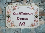 HOUSE PLAQUE RECTANGLE BIG MODEL PINK FLOWER AND PINK TEXT