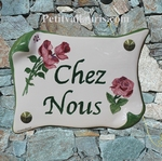 HOUSE PLAQUE PARCHMENT SMALL MODEL ROSES FLOWERS PAINTING
