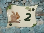 CERAMIC HOUSE PLAQUE PARCHMENT SMALL MODEL SQUIRREL PAINTING