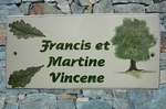 PLAQUE EMAILLEE DE MAISON RECTANGLE DECOR CHENE VERT