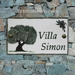 HOUSE PLAQUE RECTANGLE MODEL OLIVE-TREE AND BRANCH PAINT