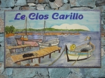 CERAMIC HOUSE PLAQUE RECTANGLE MODEL PORT AND FISHING-BOAT