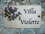 CERAMIC HOUSE PLAQUE RECTANGLE MODEL WITH VIOLET FLOWER DECO