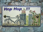 HOUSE PLAQUE RECTANGLE MODEL BICYCLE AND FLOWERS PAINTING